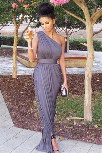 Chiffon One Shoulder  Long Bridesmaid Dresses Simple Ruffle Fashionable Plus Size Wedding Dress Under 100