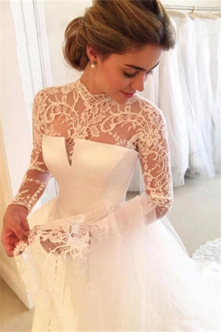 Zipper Lace Elegant High-Neck A-line Long-Sleeve Wedding Dress