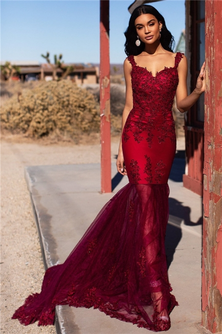 Simple Tulle Lace Mermaid Burgundy Prom Dress Straps Appliques Evening Dresses On Sale