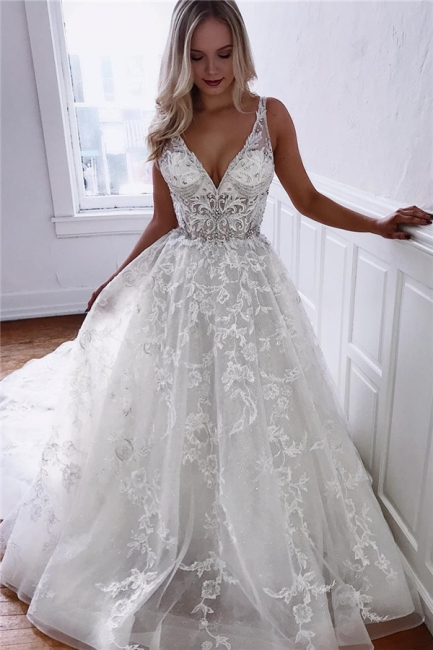 Glamorous A-line Spaghetti Straps V-Neck Lace Wedding Dresses | Bridal Gowns Online