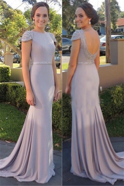 Beading Cap Sleeve   Bridesmaid Dresses New Arrival Open Back Evening Gowns