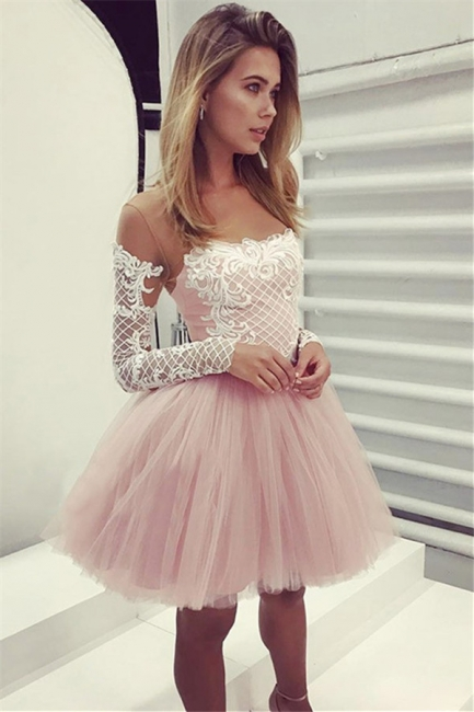 Glamorous A-Line Pink Hoco Dresses | Short Lace Long Sleeves Homecoming Dresses