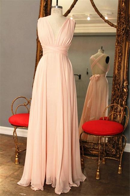 Pink Chiffon Cross Back Prom Dresses V-neck Popular  Bridesmaid Dress CJ0009