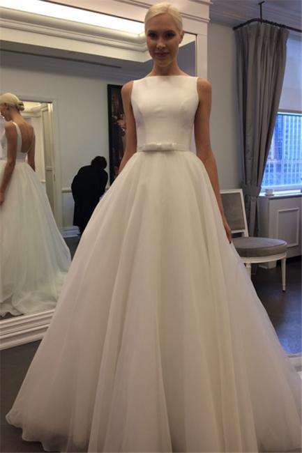 Elegant Jewel Backless Wedding Dress  A-line Sleeveless Bridal Gowns