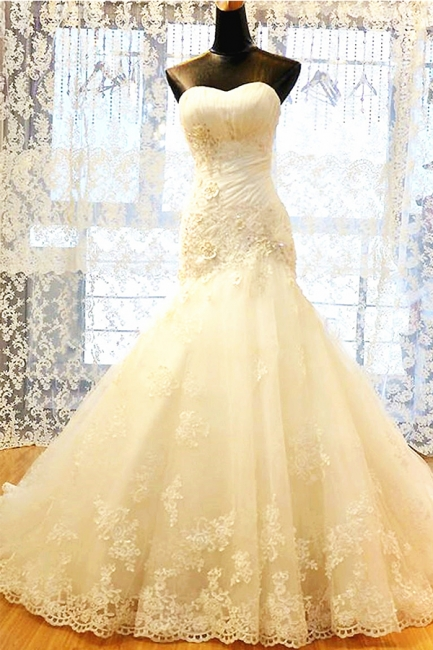 White Sweetheart Mermaid Wedding Dresses Applique Lace-Up Sexy  Bridal Gowns