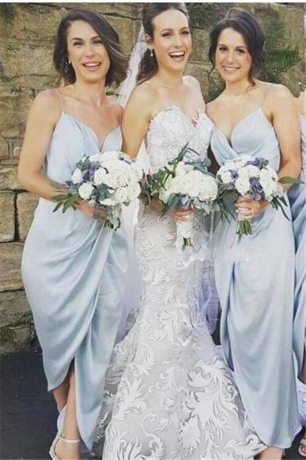 Spaghettis-Straps Slit Sky-Blue Ruffles Sheath Bridesmaid Dresses BA6197