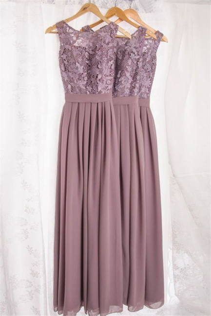 A-line Long Chiffon Lace Custom Bridesmaid Dress Affordable Elegant Formal Plus Size Wedding Party Dresses