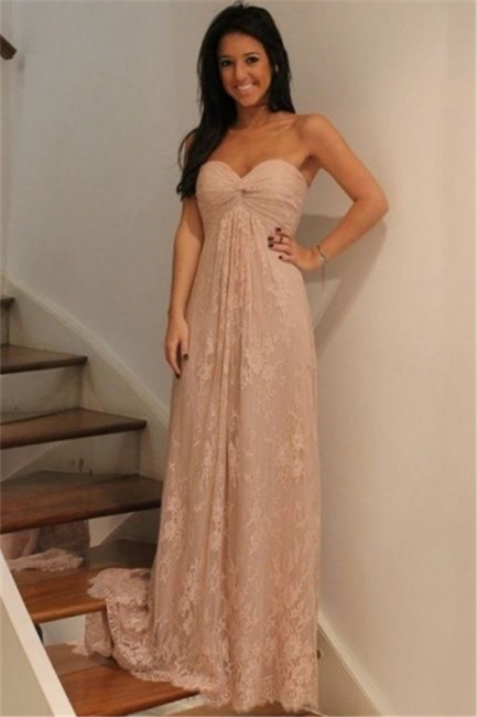 Lace Ruffle Sweetheart Bridesmaid Dresses Sweep Train Strapless Empire Prom Dresses