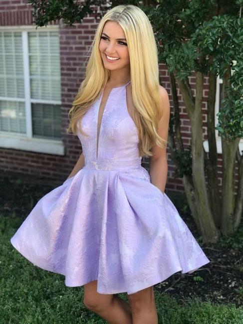 Deep-V-Neck Halter Appliques A-Line Sleeveless Homecoming Dress