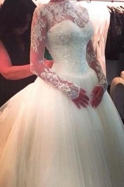 High Neck Long Sleeve Princess Wedding Dress Ball Gown Lace  Bridal Dress
