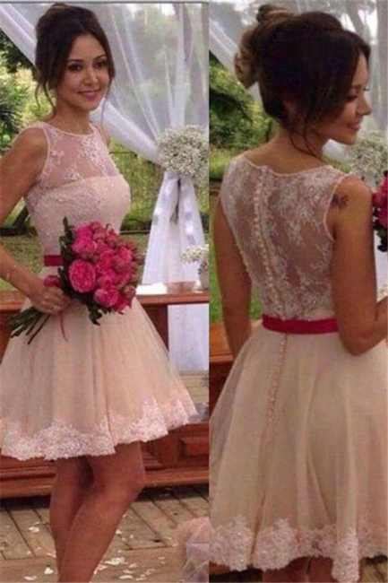 Mini Lace Bridesmaid Dress Elegant Short Homecoming Dress