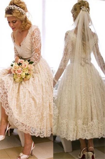 A-Line V-Neck 3/4 Long Sleeve Lace Wedding Dress New Arrival Tea Length Plus Size Bridal Gown BA6794