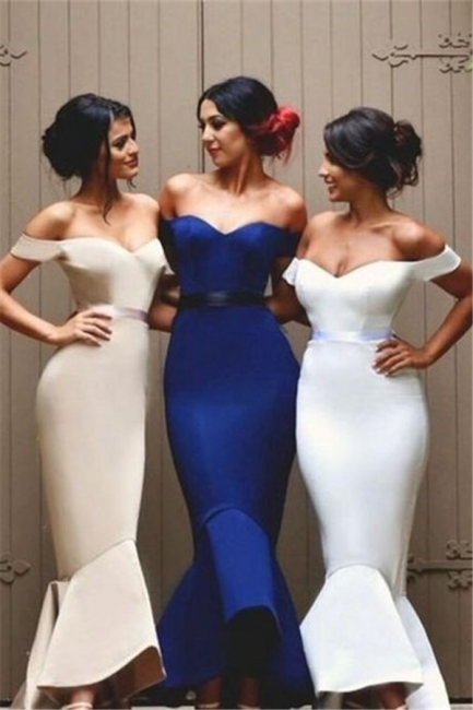 Ruffles Long Newest Off-the-shoulder Mermaid Lace-up Bridesmaid Dress BA4200