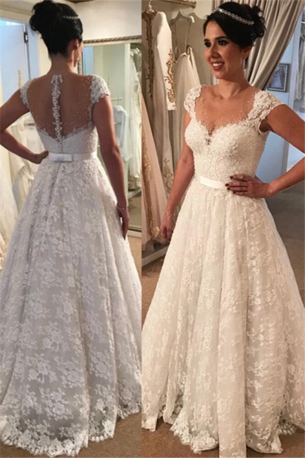 Modern Lace Wedding Dress  | A-line Zipper Cap-Sleeve Bridal Gowns