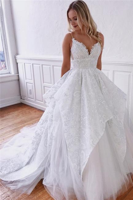 Glamorous Spaghetti-Straps Ruffle Appliques A-Line Wedding Dresses | Bridal Gowns Online