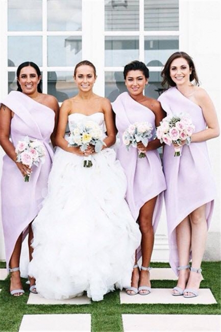 Lavender One Shoulder Chiffon Bridesmaid Dresses Latest Simple Irregular Wedding Dress BA3676