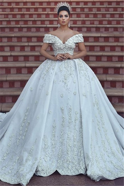 Princess Lace Appliques Wedding Dress with Beads| Off The Shoulder Ball Gown Bride Dress with Long Train