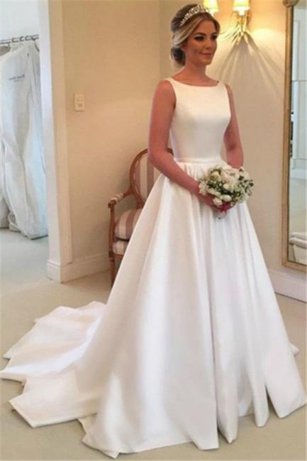 Elegant A-Line Backless Wedding Dresses Sleeveless Bowknot Sweep Train Bridal Gowns BA4237
