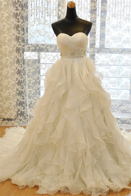 Elegant Sweetheart Ruffles A-line Wedding Dresses  Crystal Lace-up Bridal Gowns