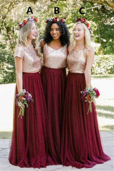 New Series Long Bridesmaids Dresses | Beautiful Sequined Bridesmaids Dresses