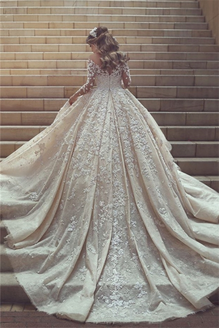 Gorgeous Crystal Appliques Wedding Dress  Tulle Long Sleeves Bridal Gowns