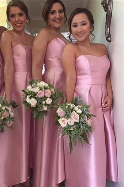 Pink Hi-Lo Party Dresses for Maid of Honor Sweetheart  Bridesmaid Dress