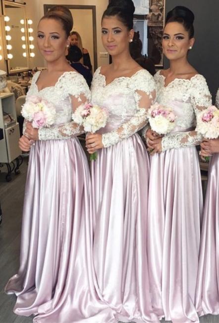 V-neck White-Lace Pink Elegant Popular Long-Sleeve Bridesmaid Dress