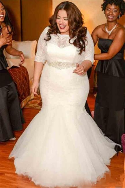 White Lace Sexy Mermaid Plus Size Wedding Dress Half Sleeve Custom Made Bridal Gown