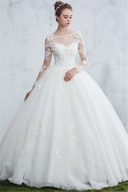 New Arrival Sexy Jewel White Long-Sleeve Ball Gown Lace Wedding Dresses
