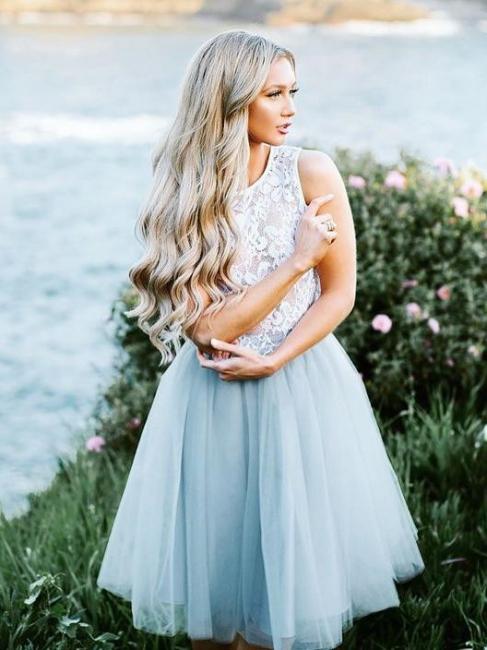 Lace Jewel Sleeveless Homecoming Dress