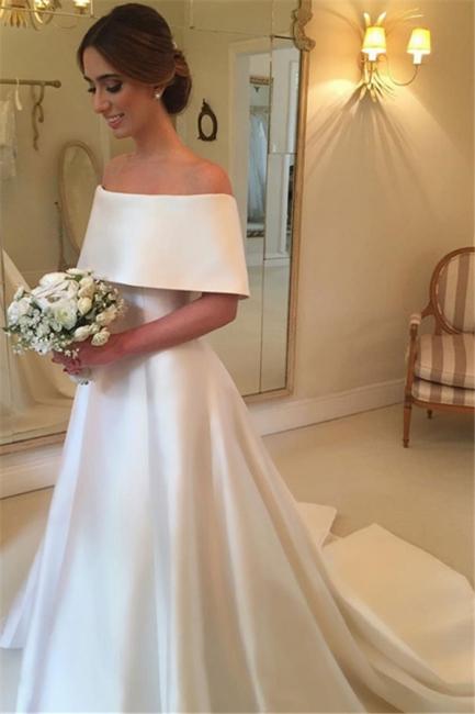 White A-line Satin Wedding Dresses |  Off the Shoulder Court Train Simple Bridal Gowns