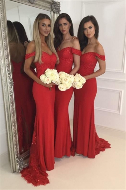Red Lace Off The Shoulder Evening Dress  Long  Bridesmaid Dresses BA4787