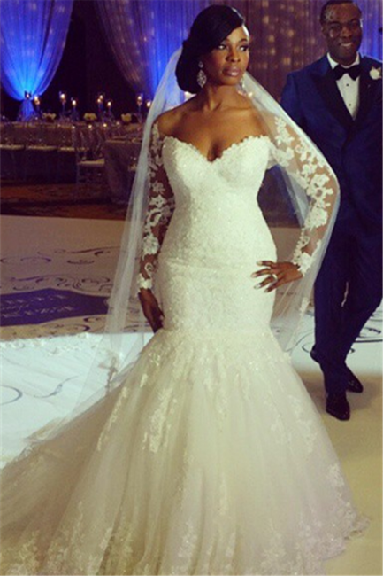 Sexy Mermaid Lace long Sleeve Plus Size Wedding Dress  High Quality Bridal Gowns