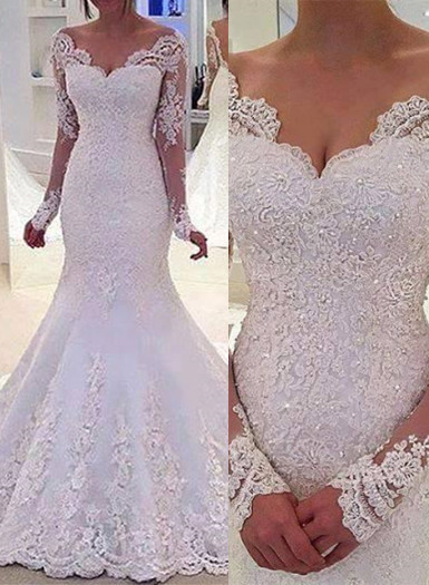 Elegant Off-the-Shoulder Long Sleeves Bridal Gowns Lace Mermaid Wedding Dresses  BA3742