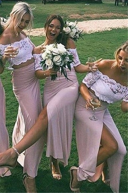 Two-Piece Short Side-Slit Chic Sleeves Pink Lace Bridesmaid Dresses