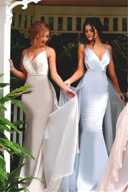 Mermaid Panel-Train V-Neck Spaghetti-Straps Elegant Bridesmaid Dress