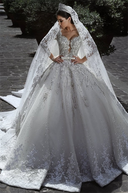 Glamorous Long Sleeves Tulle Appliques Wedding Dresses  Crystal Bridal Ball Gowns with Bow BA7970