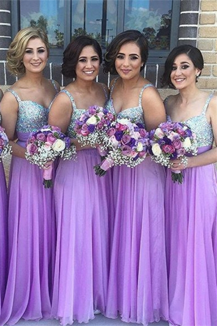 New Arrival Crystal A-Line Bridesmaid Dresses Spaghetti Strap Chiffon  Party Gowns