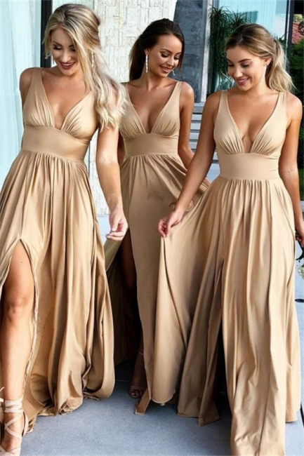 Sexy V-Neck Sleeveless Bridesmaid Dresses  | Simple Side Slit  Bridesmaid Dress