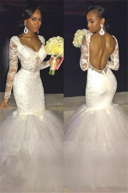 Sexy Backless Long-Sleeve Bridal Gowns    Lace Mermaid Wedding Dress