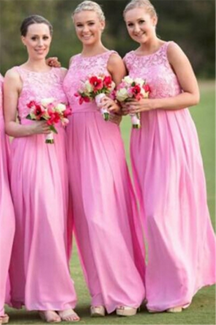 Pink Lace Long Bridesmaid Dress Popular Chiffon Floor Length Dresses for Wedding