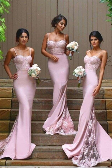Sexy Sheath Spaghetti Straps Bridesmaid Dresses  Cheap Evening Dress with Lace Appliques