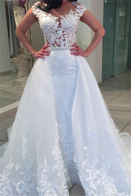 A-Line White Romantic Cap-sleeve Lace Wedding Dresses