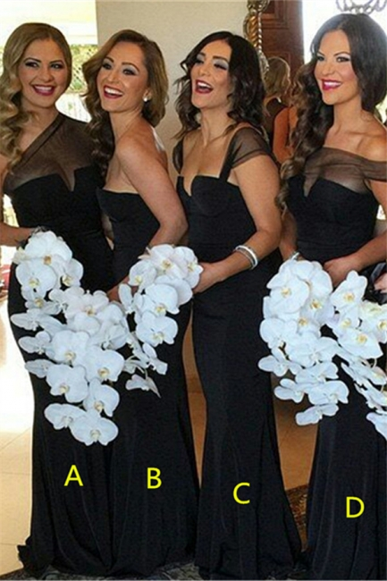 Sexy Sheath Black  Bridesmaid Dresses Long Sheer Tulle Wedding Party Dresses