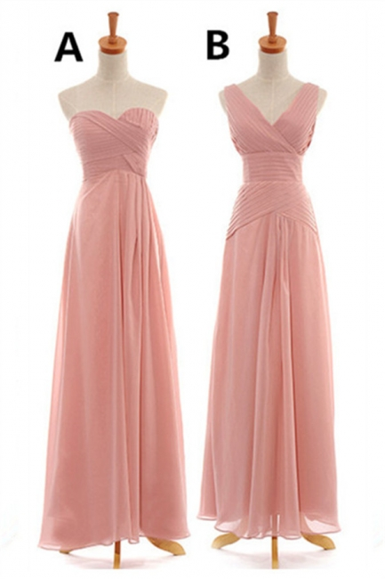 Convertable Pink Long Bridesmaid Dress Popular Chiffon Side Silt Plus Size Dresses for Wedding