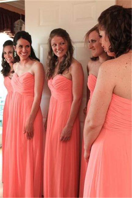 Chiffon Sweetheart  Long Bridesmaid Dresses Simple Floor Length Plus Size Wedding Dress Under 100