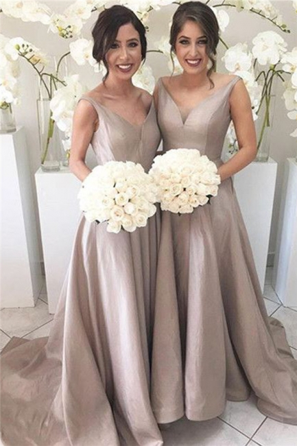 Sheer-Tulle V-neck Stretch-Satin Simple Open-Back Sleeveless Bridesmaid Dress
