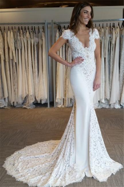 Sexy Mermaid V-Neck Wedding Dresses  Open Back Short Sleeves Bridal Gowns