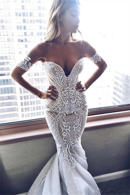 Sexy Mermaid Embroider Off-the-shoulder Zipper Wedding Dress