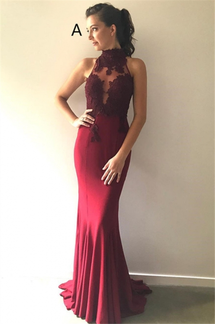 Burgundy Lace Bridesmaid Dresses   | Sleeveless Sheath Sexy Maid of Honor Dresses
